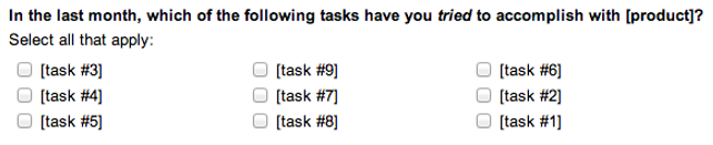 Typical product task selection question